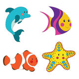 Set of cartoon sea creatures. Isolated on white. Vector illustration Royalty Free Stock Photography