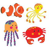 Set of cartoon sea creatures. Isolated on white. Vector illustration Royalty Free Stock Photos