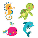 Set of cartoon sea creatures. Isolated on white. Vector illustration Stock Photos
