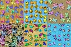 Set of cartoon seamless textures Stock Image