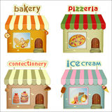 Set of Cartoon Shops. Bakery, Pizzeria, Confectionery, Ice Cream Shop Isolated on White Background. Illustration Royalty Free Stock Image