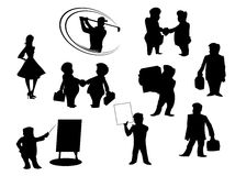 Set of cartoon silhouettes Royalty Free Stock Photos