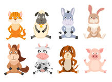 Set of cartoon sitting animals. vector Stock Photography