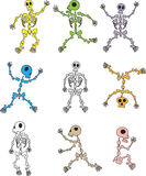Set of Cartoon Skeleton Vectors Stock Photography