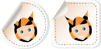 Set of cartoon smile baby boy invitation card Royalty Free Stock Images
