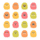 Set of cartoon smiley monsters. Collection of different cute flu Stock Photo