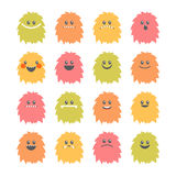 Set of cartoon smiley monsters. Collection of different cute and Stock Photos