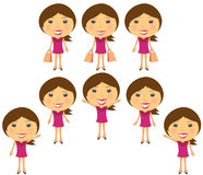 Set cartoon smiling girl. In pink dress Royalty Free Stock Images