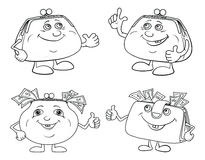 Set cartoon smiling purses outline Royalty Free Stock Photos