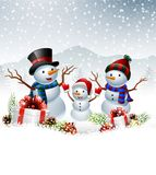 Set of cartoon snowman with Christmas background Royalty Free Stock Image