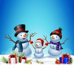 Set of cartoon snowman with Christmas background Royalty Free Stock Photography