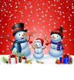 Set of cartoon snowman with Christmas background Stock Photography