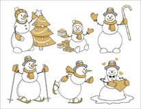 Set of cartoon snowman gold Royalty Free Stock Photos