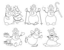 Set of cartoon snowman sketch Stock Photo