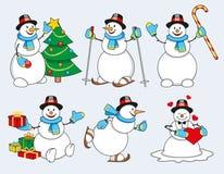Set of cartoon snowman Royalty Free Stock Photography
