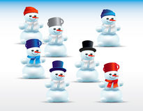 Set of cartoon snowmen Royalty Free Stock Photos