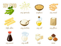 Set of cartoon soy food - milk, sauce, meat, tofu, miso and so. Vector illustration,  on white, eps 10. Stock Image