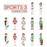 Set of cartoon sport characters Royalty Free Stock Images