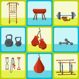 Set of cartoon sport things and instruments Stock Images