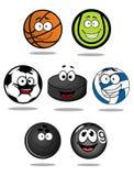 Set of cartoon sports balls characters Royalty Free Stock Photography