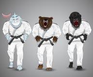 Set of cartoon sports man-shark,man-bear and man. Gorilla Stock Image