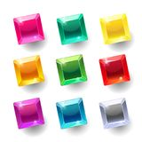 Set of cartoon square different color crystals. Gemstones, gems,diamonds vector gui assets collection for game design isolated on white background. Gui Stock Illustration