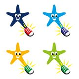 Star. A set of cartoon star characters with shoes Royalty Free Stock Image
