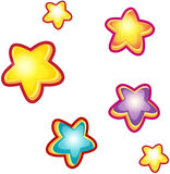 Set of cartoon stars. Stock Images