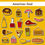 Set of cartoon stickers on american food theme Royalty Free Stock Photo