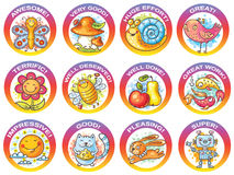 Set of cartoon stickers for encouraging students Royalty Free Stock Photo