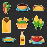 Set of cartoon stickers with mexican food Stock Image