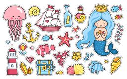 Set of cartoon stickers, patches, badges, pins, prints for kids. Sea and ocean. Doodle style. Vector illustration. royalty free illustration