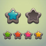 Set of cartoon stone stars Stock Image