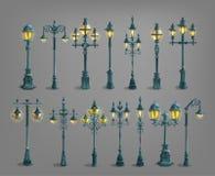 Set of cartoon street light. vector illustration