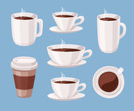 Set of Cartoon Style Coffee Cup. Vector Illustration Liquid Chocolate. Hand Drawn Caffeine Drinks Stock Photography