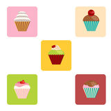 Set of cartoon-style cute muffin icons Stock Images