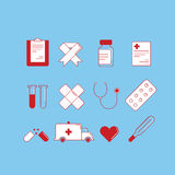 Set of 12 cartoon-style medical icons colored on blue background stock illustration