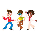 Set of cartoon style retro disco dancers, black and Caucasian Royalty Free Stock Photo