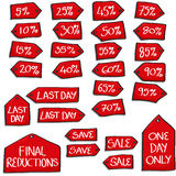 Set of Cartoon style Sale Tags. Set of Cartoon Style hand drawn sales tags with hand written text. Set includes: individual Percentage Off tags from 5% to 95% Stock Photos