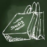 Set of cartoon style shopping bags Stock Photos