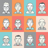 Set of cartoon-style vector hipster characters Stock Photos