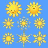 Set cartoon sun. Stock Image