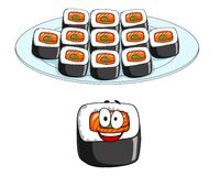 Set of cartoon sushi cons Stock Photos