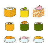Set of cartoon sushi and rolls Royalty Free Stock Image