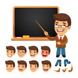 Set of Cartoon Teacher Character for Your Design Stock Photo