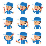 Set of cartoon technician showing different emotions. For design Royalty Free Stock Photos
