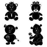 Set cartoon teddy bears, silhouette Stock Images