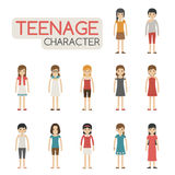 Set of cartoon teenagers characters Stock Photo