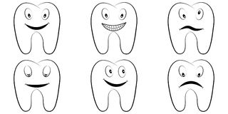 Set of cartoon teeth, the molars with the emotions on the face, tooth vector comic smile, anger and fun, dental office Royalty Free Stock Images