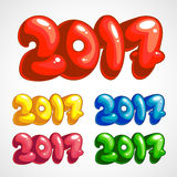 Set of cartoon titles in 2017. A set of colored labels in 2017 Stock Image